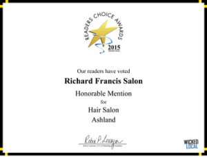 Richard Francis Salon - 2015 Honorable Mention Readers Choice Award for Ashland Hair Salon