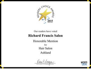 Richard Francis Salon - 2015 Honorable Mention Readers Choice Award for Ashland Hair Salon