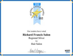 Richard Francis Salon - 2015 Regional Silver Readers Choice Award for Hair Salon